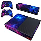 Cheap Decal Moments Xbox One Skin Set Vinyl Decal Skin Stickers Protective for Xbox One Console Kinect 2 Controllers-Purple Galaxy