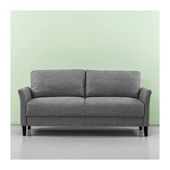 Zinus Jackie Classic Upholstered 71 Inch Sofa / Living Room Couch, Soft Grey - Easily assembles with a friend, no tools needed, in under 20 minutes Stress-free fabrics were chosen to be durable and easy-to-clean 70.9 inches long with classic flared arms - sofas-couches, living-room-furniture, living-room - 51uPpJl53bL. SS570  -