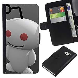KLONGSHOP // Tirón de la caja Cartera de cuero con ranuras para tarjetas - Redd1t extranjero - Samsung Galaxy S6 EDGE //