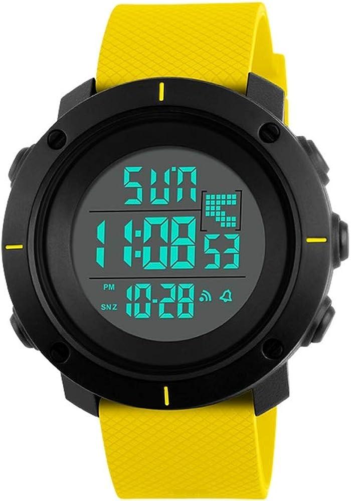 TONSHEN Relojes Deportivo Impermeable 50M Resistente al Agua LED Electrónica Doble Tiempo Militar Multifuncional Digital Relojes de Pulsera Plastico Caja y Goma Correa