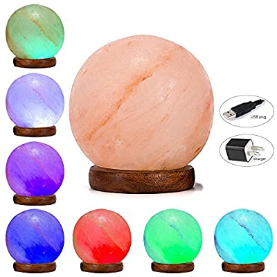 Niubity Triangle Hand Carved USB Wooden Base Himalayan Crystal Rock Salt Lamp Air Purifier Night Light