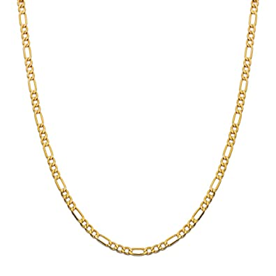 d3113ce86d1c4 LOVEBLING 10K Yellow Gold 4mm Figaro Chain Necklace (24 inch ...