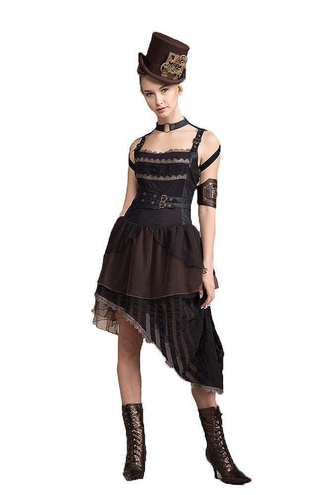 Vestidos de satén eróticos retro victorianos sin tirantes de las mujeres góticas Faldas asimétricas de la rodilla del partido asimétrico de las mujeres de ...