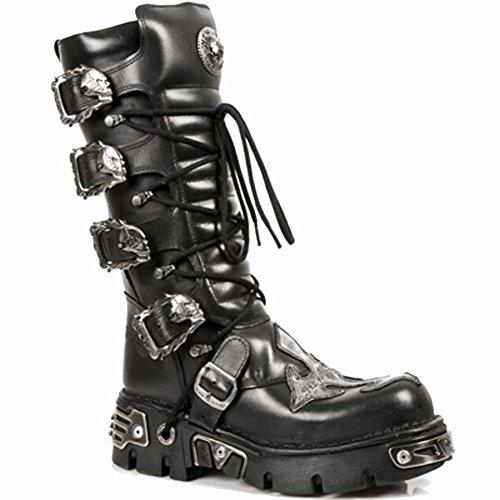S1 New BLACK Mettalic BLACK 403 Black M Unisex Leather Rock ACERO Boots BBqWTwOx