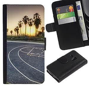 KLONGSHOP // Tirón de la caja Cartera de cuero con ranuras para tarjetas - LA Miami Street Basketball - Samsung Galaxy S3 MINI 8190 //