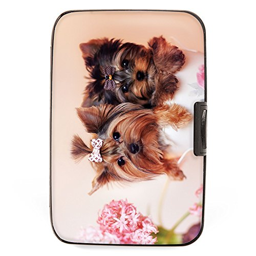 (Monarque - Puppies Yorkie Armored Wallet Credit Card Case with RFID Data Theft Protection - Slim Design Fits in Front Pocket)