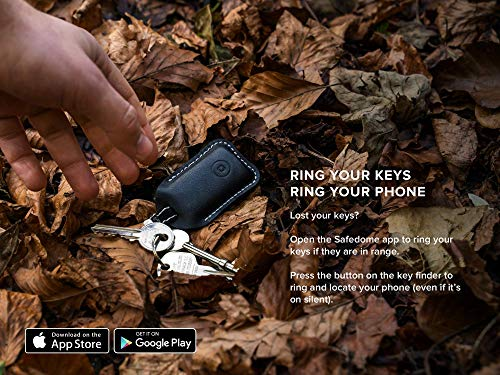 Safedome Smart Key Locator with Bluetooth Tracker, Premium Leather Fob x 2  to Find Lost Car or House Keys or Phone, Water Resistant Keychain Tracking
