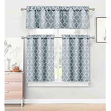 3 Piece Kitchen/Cafe Tier Window Curtain Set: Moroccan Trellis/Tile Design (Denim Navy)
