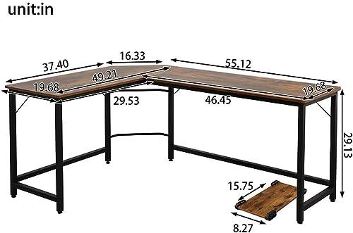 Deal of the week: EPHYTECH Modern L-Shaped Desk Sturdy Computer PC Laptop Table Corner Computer Desk Workstation Larger Gaming Desk Easy to Assemble