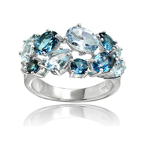 Ice Gems Sterling Silver Genuine London Blue Topaz and Blue Topaz Tonal Cluster Ring