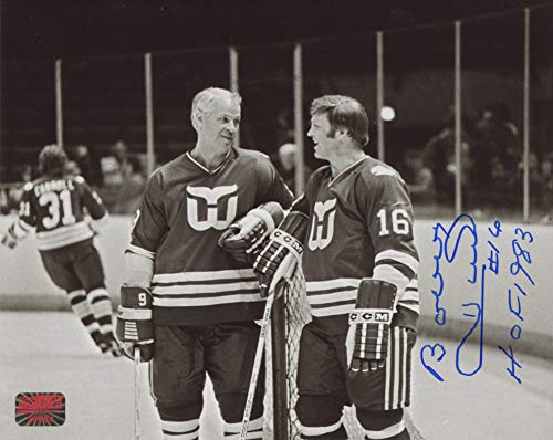 Bobby Hull Hartford Whalers Signed Inscribed HOF 1983 Black and White 8x10 Photo