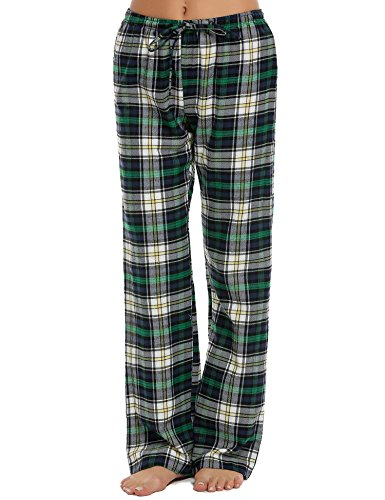 Pajama Ladies Pants Green Plaid (Ekouaer Lounge Pant Woman Comfy Cotton Tall Flannel Pajama Bottom (Green, Medium))