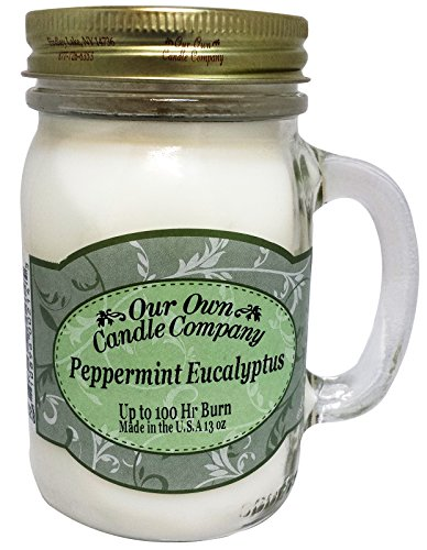 Our Own Candle Company Peppermint Eucalyptus Scented 13 Ounce Mason Jar Candle