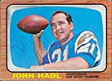Signed Hadl, John (San Diego Chargers) 1966 Topps Football Card in light blue ball point pen. (Rough Corners on card) autographed