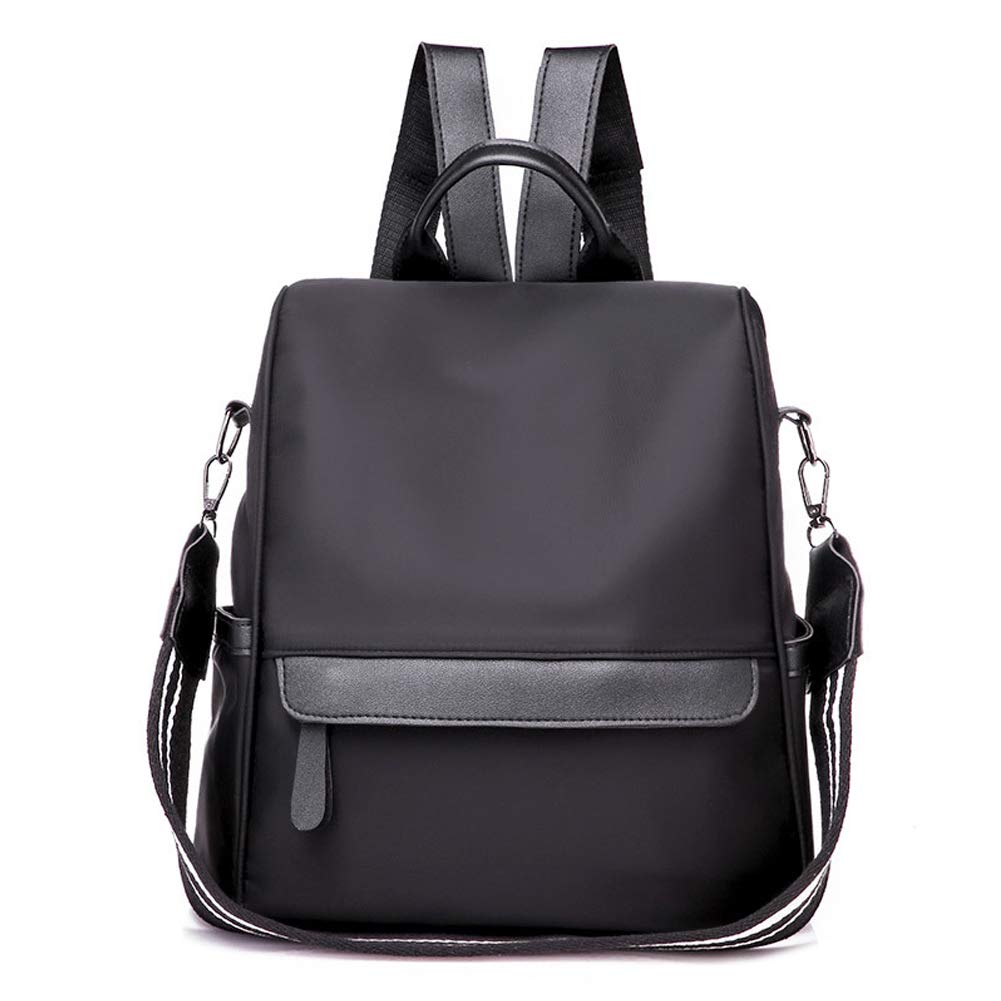 Women Backpack Purse Waterproof Nylon Anti-theft Rucksack Lightweight School Shoulder Handbags bag Ladies (black)