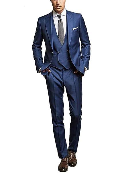 vipgowns Abito Uomo 3 Pezzi Abito Completo Uomo Sartoriale in Lino Blu  Scuro Vestito Elegante Cerimonia  Amazon.it  Abbigliamento bd05cea11a1