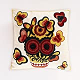 Halloween Idea Red & White Calavera Modern Decorative Cushion Throw Pillow 18x18 Inch with Zipper, Fills Included, by Calla Angel