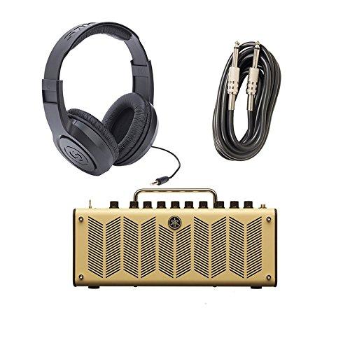 Yamaha THR-10 10 Watt Stereo 3 Guitar Combo Amp with AxcessAbles I-010 Guitar Instrument Cables - 10 Feet and Samson SR350 Headphones