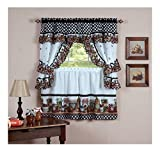 Mason Jars Cottage Style Kitchen Curtain Swag & Tiers Set -24'' Kitchen Curtain Set