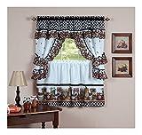 Mason Jars Cottage Style Kitchen Curtain Swag & Tiers Set -36'' Kitchen Curtain Set