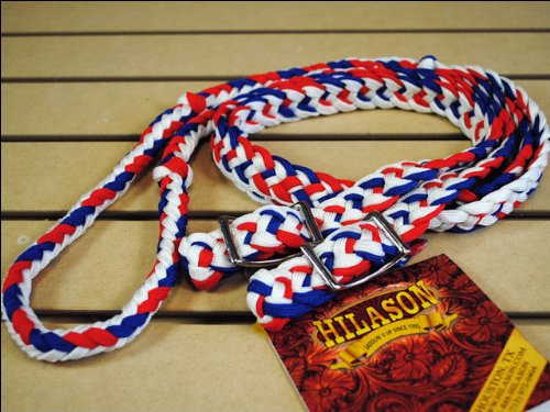 Soft Grip Reins - Braided Poly Barrel Rein Flat w/ Easy Grip Knots (Red/White/Blue)