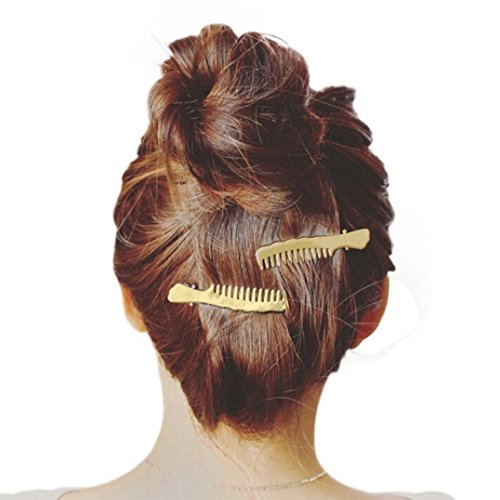 Staron 1Pair Women Hair Pins Clips Cute Comb Shape Headwear Accessories Headpiece (Gold) by Staron (Image #4)