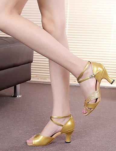Cubain Moderne Autre Jazz Chaussures Cuir ShangYi Non Talon Latine Paillette Verni Cuir Personnalisables Gold de danse t0qqOw6f