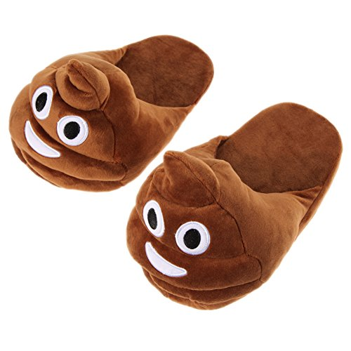 Whitelotous Unisex Emoji Emotion Cute Cartoon Slippers Warm Cozy Soft Plush Stuffed Household Indoor Shoes (Poo)