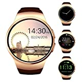 TKSTAR 1.3'' Screen Smartwatch,Bluetooth Heart Rate Monitor Watches Remote Camera for Women/Men/Teens,Sim Card Slot Call Reminder,Text for Iphone,Android,Samsung etc. (Gold)