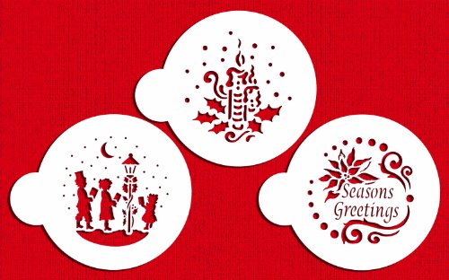 Designer Stencils C463 Seasons Greeting Cookies Stencils, (Seasons Greetings - Carolers - Candle and Holly), (Seasons Greetings Holly)