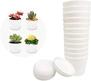 12 Pack 3.7Inch White Plastic Nursery Pots,Flower Plant Nursery Pot,Cylinder Garden Plant Pots with Drainage and Saucer for Indoor Outdoor Garden Office Decor