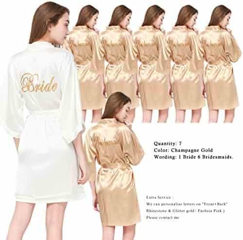 754e754d51 PROGULOVER Set Of 7 Women s Satin Silk-Like Kimono Robes For Bride  Bridesmaid Gold Glitter