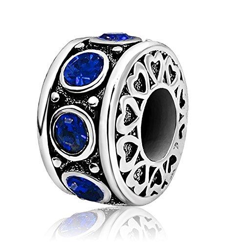 - KunBead Heart Birthday Birthstone Charms Blue September Bead for Bracelets