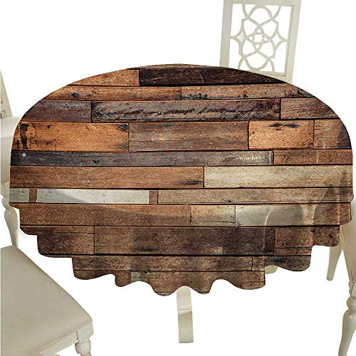 Wooden Washable Table Cloth Rustic Floor Planks Print Grungy Look Farm House Country Style Walnut Oak Grain Image Waterproof/Oil-Proof/Spill-Proof Tabletop Protector D70 Brown