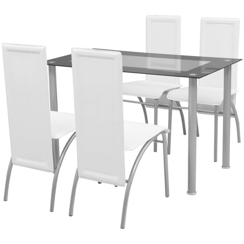 BestHomeFuniture 5 Piece Dining Room Set, 4 Artificial Leather Chairs and 1 Glass top Dining Table, White