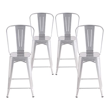 Groovy Buschman Set Of 4 Grey 24 Inch Counter Height Metal Bar Stools With High Back Indoor Outdoor Forskolin Free Trial Chair Design Images Forskolin Free Trialorg