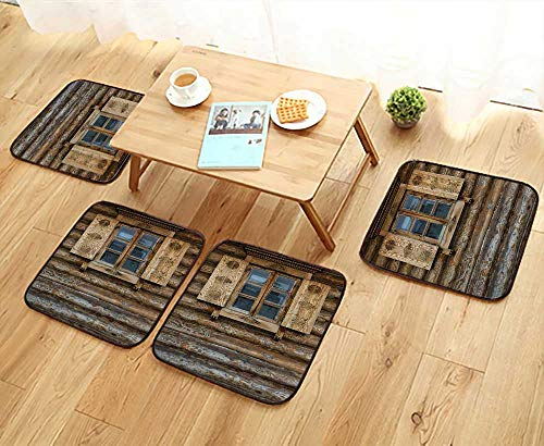 Printsonne Universal Chair Cushions Windows with Shutters Patterned The Wall of The Old Wooden House Cottage Personalized Durable W15.5 x L15.5/4PCS - Cottage Commode