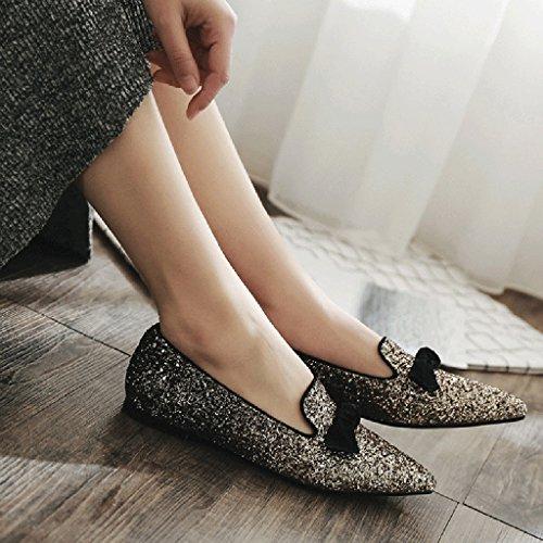 Con Zapatos Boca Profunda Lentejuelas Tama Spring 38 Flat Color Con Season Heel Heel Poco o La Punta Oro En Zapatos ZCJB Bowknot Planos w7vqxYXpg