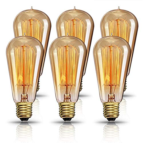 Vintage Edison Bulb, Elfeland 60W Dimmable Squirrel Cage Filament Vintage Light Bulbs ST58 Antique Teardrop Design Retro Pendant Lights for Restaurant Home Office E26/E27 110-130V (6 Pack)