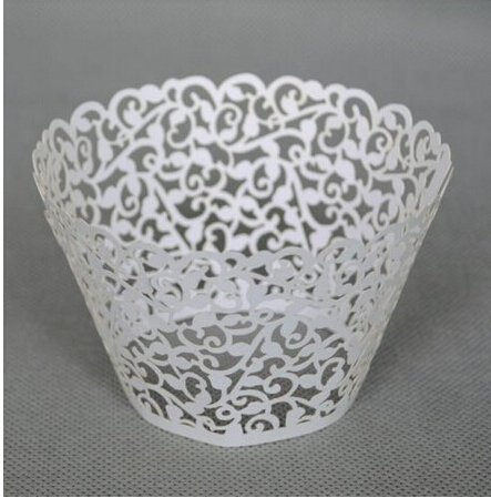 Worldoor® 100 Filigree Little Vine Lace Laser Cut Cupcake Wrapper Liner Baking Cup Muffin Case Trays Wedding Birthday Party Decoration / Vine Vintage Laser Cut Lace wedding cupcake wrapper muffin cup cake liner muffin baking wrap