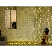 Curtains Icicle Lights with UL Certified Low Voltage Adapter and Remote & Timer, 448 LED 9.8x9.8ft Fairy Lights for Wedding Backdrop Christmas Holiday Party Window Decorations by AOFOX (Warm White)