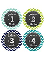 Months in Motion 511 Personalized Monthly Baby Stickers Baby Boy Month 1-12 Milestone Age