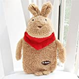Classic Rubber Hot Water Bottle with Cute Unicorn Cover and Soft Fleece Cover (White Rabbit/Blue + Brown Rabiit/Red) (RED)