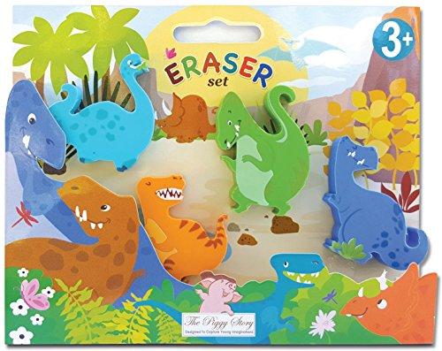 The Piggy Story 'Dinosaur World' Set of 4 Die-Cut Mini Erasers in Gift Box