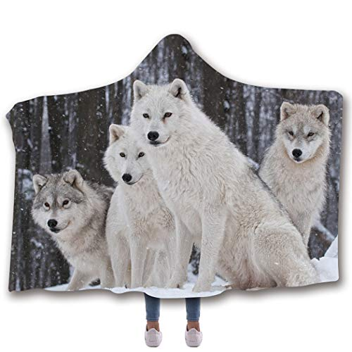 (Kids and Adult Wolf 3D Digital Print Fleece Lined Thermal Lining Hooded Wearable Blanket Ponchos)
