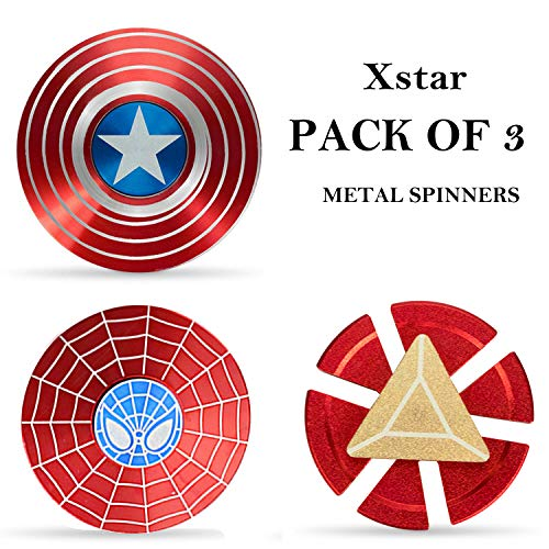 Xstar Spider Iron Man Snitch Fidget Spinner Metal Set Hand Spinner Toy Focus Copper Toy Stainless Steel Fidget Toys Fingertip Gyro Stress Relief Cube EDC ADHD Toy Best Gifts (3Pack)