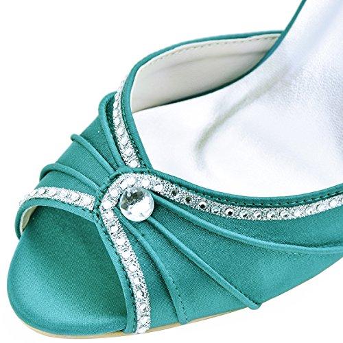 de Sandales EL Mariage Ouvert Pumps 033 Teal Strass Femme Chaussures Aiguille Pliez Satin Bout Talon Elegantpark wOPqSAO