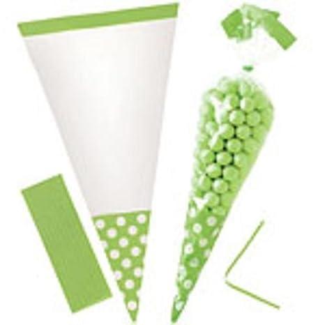10 Bolsas cono verde lunares Puerta caramelos 25 cm Big ...