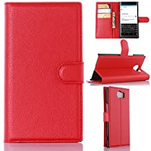 BlackBerry Priv Phone Case, Gift_Source [Red] [Stand Feature] Magnetic Snap Case Wallet Premium Wallet Case Built-in Card Slots Flip Case Cover Skin for Blackberry PRIV Smartphone 5.4 inch