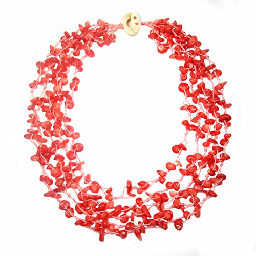 Salmon Coral Multi Strand Chips Necklace with Mother of Pearl Toggle Clasp